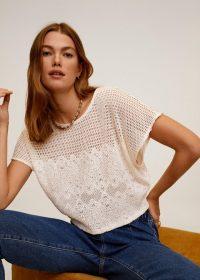 MANGO Louise Openwork knit t-shirt ecru