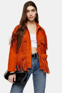TOPSHOP Orange Fringe Leather Jacket – western style outerwear