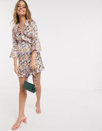 Outrageous Fortune Petite ruffle wrap dress in lilac floral print – frill trimmed dresses