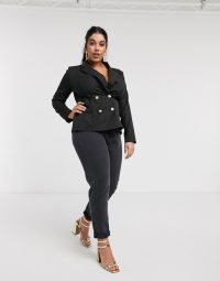Outrageous Fortune Plus double breasted blazer in black