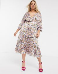 Outrageous Fortune Plus wrap front ruffle tiered midi dress in lilac floral print