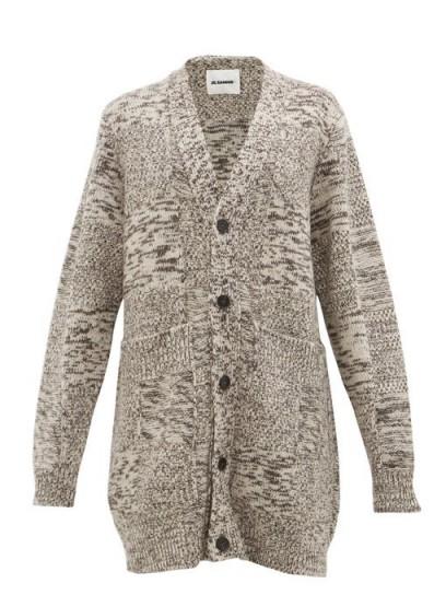 JIL SANDER Grey oversized recycled cashmere cardigan ~ cosy cardi
