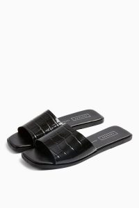 TOPSHOP PAISLEY Black Leather Mules. CROC EMBOSSED FLATS