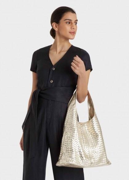 HOBBS PAISLEY TOTE BAG METALLIC / large luxe style handbags - flipped