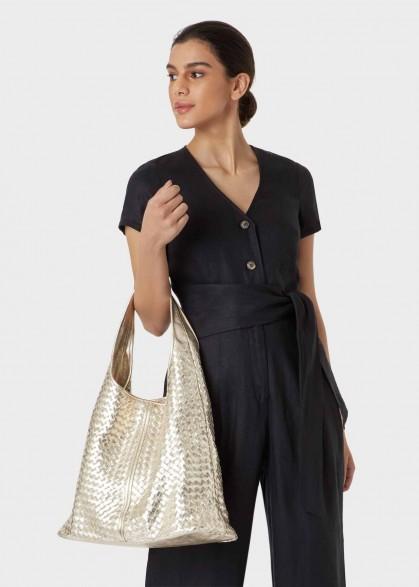 HOBBS PAISLEY TOTE BAG METALLIC / large luxe style handbags
