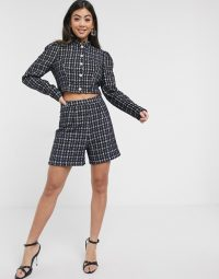 Paper Dolls Petite boucle jacket co-ord in navy