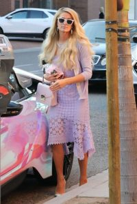 Paris Hilton looking spring-like in a pretty lilac outfit, while out in Beverly Hills January 2020. ~ celebrity street style outfits USA
