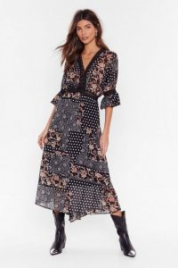 NASTY GAL Patch Me If You Can Mixed Print Maxi Dress / mixed spots & florals