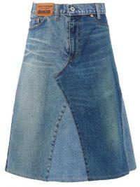 JUNYA WATANABE Patchwork denim midi skirt ~ classic A-line design