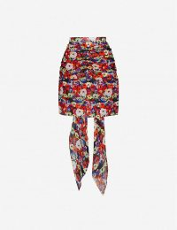 PATOU Floral-print high-waist silk-crepe mini skirt