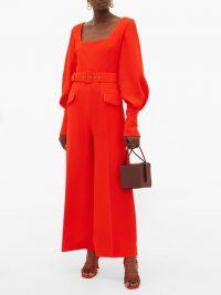 EMILIA WICKSTEAD Patrice pebbled-crepe jumpsuit in orange