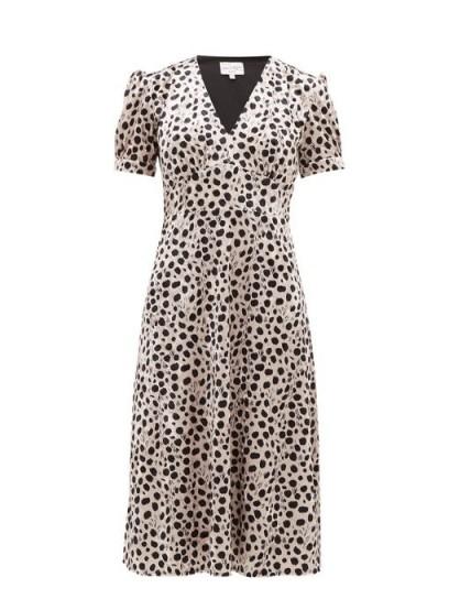 Ana de Armas short sleeve spot print dress, HVN Paula leopard-print velvet midi dress, out in Los Angeles, 20 March 2020 | celebrity street style dresses