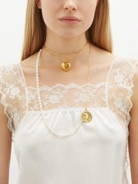 TIMELESS PEARLY Pearl and charm double-layer gold-plated necklace ~ long necklaces