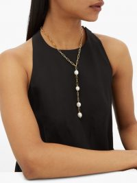 TIMELESS PEARLY Pearl-drop gold-plated necklace ~ longline necklaces