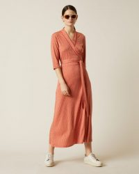 JIGSAW PETAL GEO WRAP JERSEY DRESS CORAL