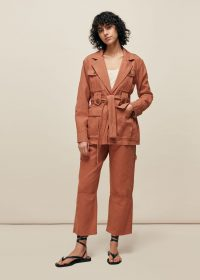 WHISTLES AMENIA BELTED UTILITY JACKET PINK