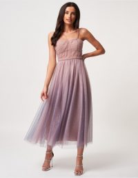 FOREVER UNIQUE Pink And Blue Mesh Midi Dress ~ shimmery party dresses