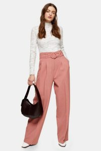 TOPSHOP Pink Circle Belted Wide Leg Trousers