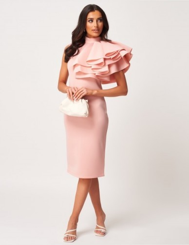 FOREVER UNIQUE Pink Extreme Ruffle High Neck Scuba Midi Dress ~ statement ruffles / frills