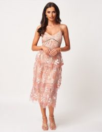 FOREVER UNIQUE Pink Frill Midi Dress With Sequin Embellishments ~ tiered semi sheer dresses