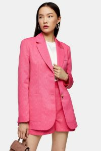TOPSHOP Pink Grandad Single Breasted Blazer – bright blazers