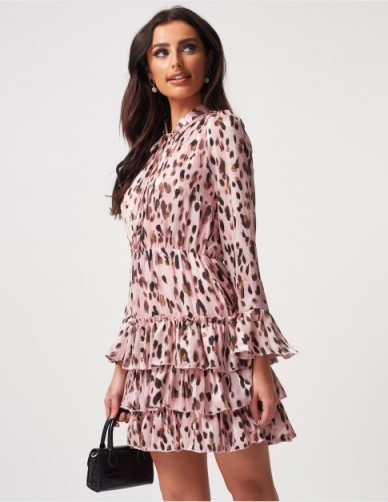 FOREVER UNIQUE Pink Leopard Print Mini Dress With Frill Skirt Detailing ~ tiered ruffle dresses