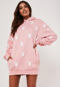 playboy x missguided pink repeat print oversized hoodie dress