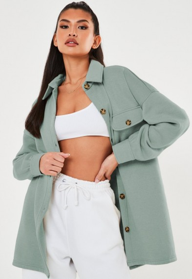 MISSGUIDED plus size sage soft button shacket ~ shackets