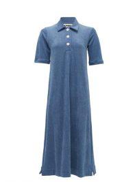 JIL SANDER Point-collar cotton-terry midi dress in blue ~ effortless style
