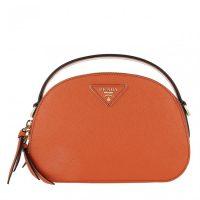 PRADA Odette Shoulder Bag Leather Papaya