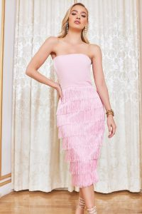 LAVISH ALICE bandeau fringe midi dress in pink – strapless fringed dresses