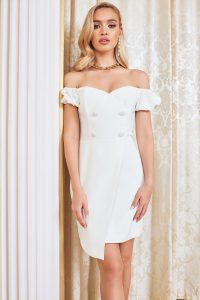 LAVISH ALICE bardot puff sleeve mini dress in white