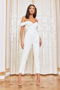 LAVISH ALICE corset bardot jumpsuit in white – glamorous off shoulder jumpsuits