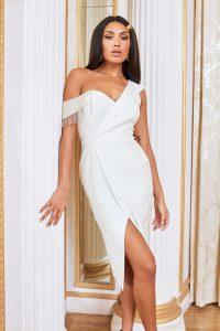 LAVISH ALICE one shoulder diamante trim wrap midi dress in white