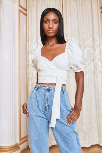 Lavish Alice short puff sleeve cropped top in white