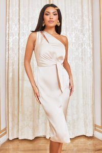 LAVISH ALICE tie front satin midi dress in champagne – luxe look dresses