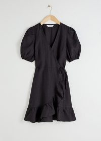 Stories Puff Sleeve Linen Wrap Mini Dress Black | LBD