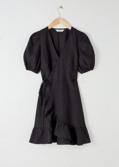 Stories Puff Sleeve Linen Wrap Mini Dress Black | LBD - flipped