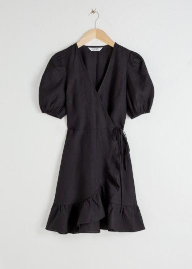 Stories Puff Sleeve Linen Wrap Mini Dress Black | LBD