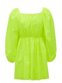 VALENTINO Neon-green puff-sleeve poplin mini dress