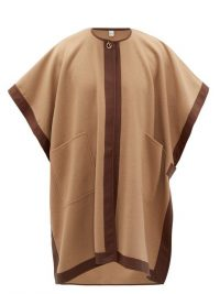 BURBERRY Pycombe leather-trimmed cashmere cape in camel