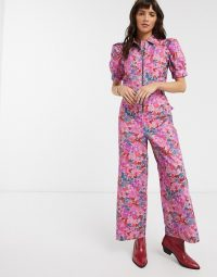 Reclaimed Vintage inspired jumpsuit with collar in floral bloom print