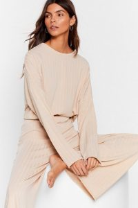 Nasty Gal Recycled Let's Chill Wide-Leg Trousers Lounge Set Oatmeal