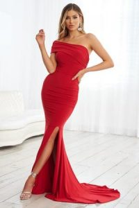 Club L London Red One Shoulder Ruched Fishtail Maxi Dress – long evening dresses