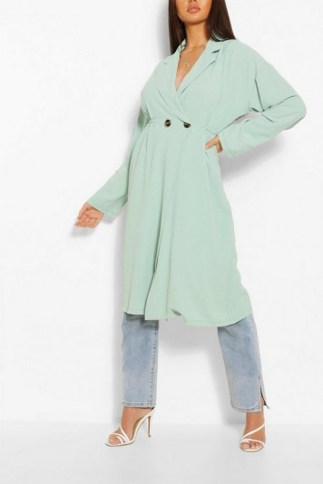 BOOHOO Relaxed Fit Double Breasted Jacket Sage – longline jackets