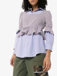 RENTRAYAGE layered checked bustier shirt ~ ruffled shirts ~ mixed prints