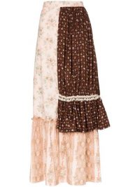 RENTRAYAGE panelled tiered maxi skirt ~ mixed print skirts