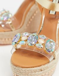 River Island embellished clear wedge sandal in tan | luxe look wedged sandals