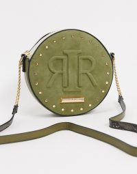 River Island embossed logo circular crossbody bag in khaki