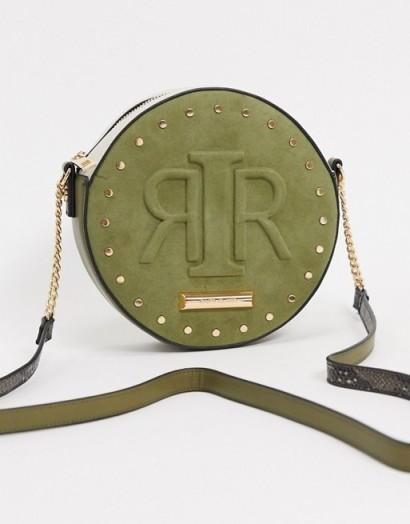 River Island embossed logo circular crossbody bag in khaki